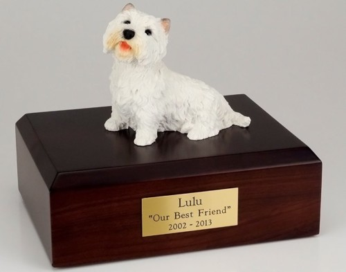 Westie figurine cremation urn w/wood box