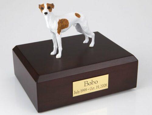 Whippet figurine cremation urn w/wood box