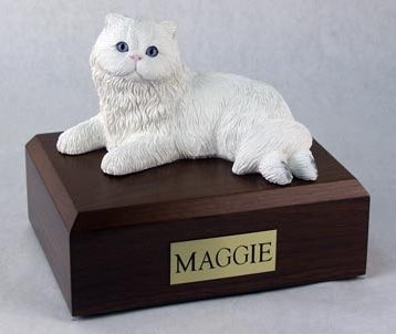 White Persian cat figurine cremation urn w/wood box