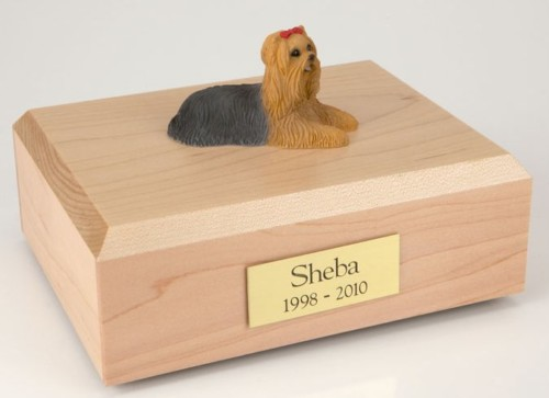 Yorkshire Terrier figurine cremation urn w/wood box