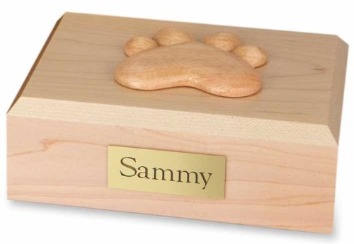 Wood pet cremation urn - maple, with paw print decoration on top
