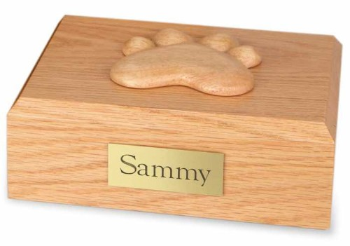 Wood pet cremation urn - oak, with paw print decoration on top