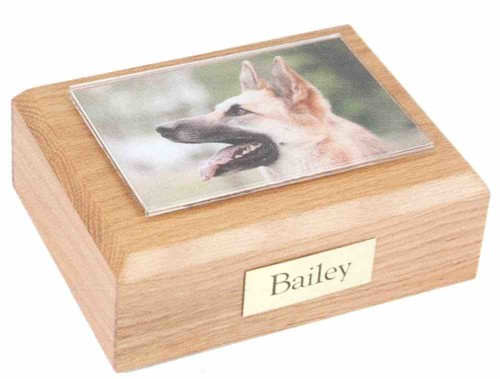 Hardwood traditional pet urn cremation box with photo holder frame on top
