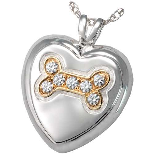 Sterling Silver Heart Paw Cremation Pendant for pet ashes or keepsake