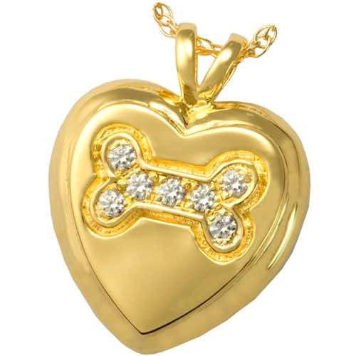 Gold Heart Paw Cremation Pendant for pet ashes or keepsake