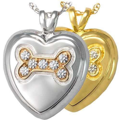 Heart Paw Cremation Pendant for pet ashes or keepsake