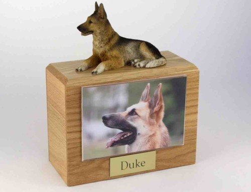 """Wood cremation urn with german shepherd figurine and 4 x 6"""" photo holder."""