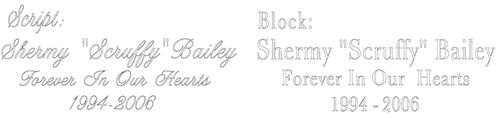 Script or block engraving sample
