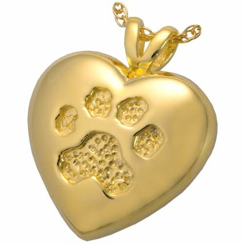 14k Gold Pet Cremation Pendant Paw Print Necklace