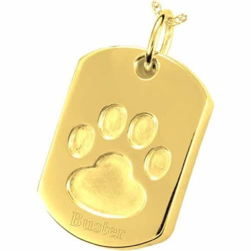 Paw Print Dog Tag Pet Cremation Pendant, 14k Gold Plated