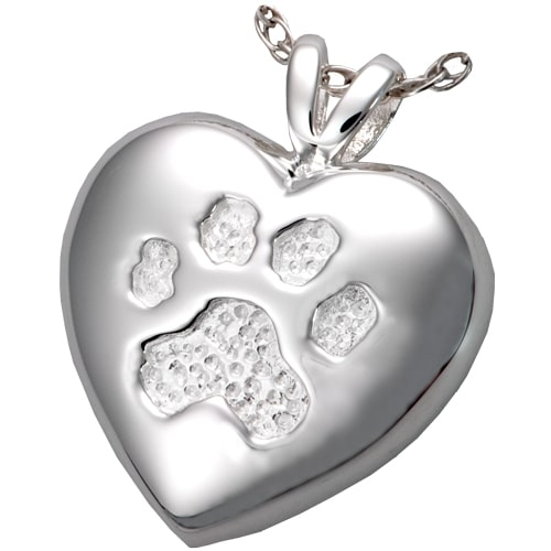 Sterling Silver Pet Cremation Pendant Paw Print Necklace