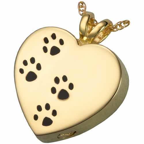 14k Gold Plated Pawprints On My Heart Cremation Pendant