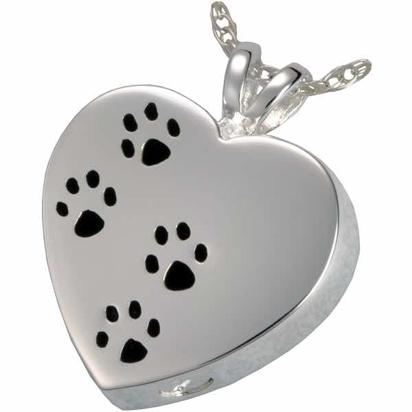 Sterling Silver Pawprints On My Heart Cremation Pendant