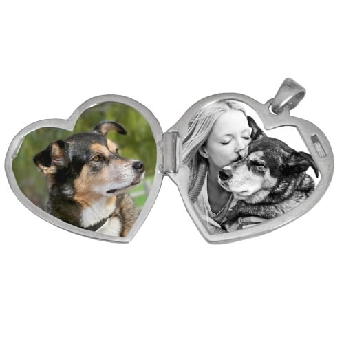 Heart Double Photo Locket, Actual pet Print Pendant, Sterling Silver 3287LS, inside view