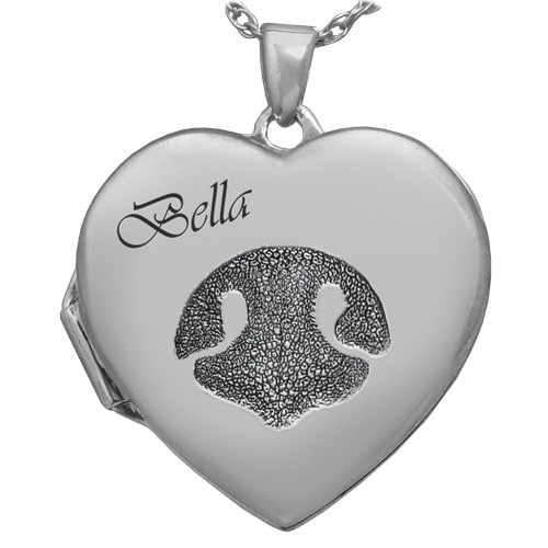 Heart Double Photo Locket, Actual Paw Print Pendant, Sterling Silver 3287LS