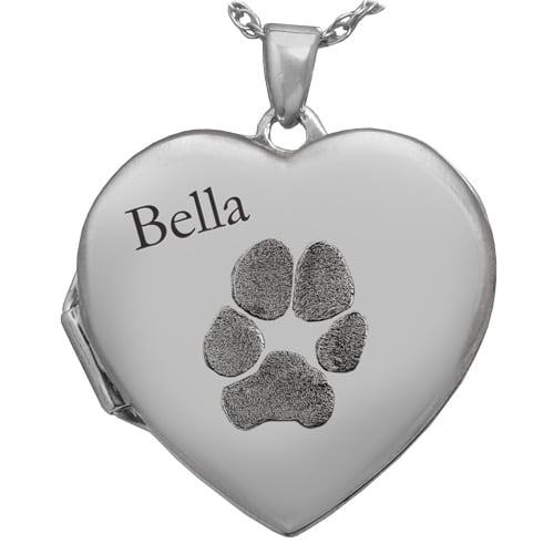 Heart Double Photo Locket, Actual Nose Print Pendant, Sterling Silver 3287LS