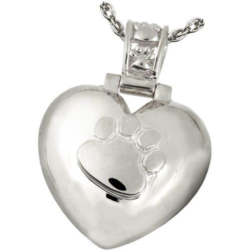 Paw Print Heart cremation pendant, sterling silver