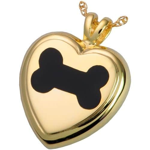 Black Inlay Dog Bone Heart Cremation Pendant