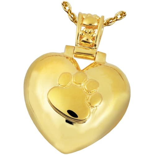 Paw Print Heart cremation pendant, 14k gold plated