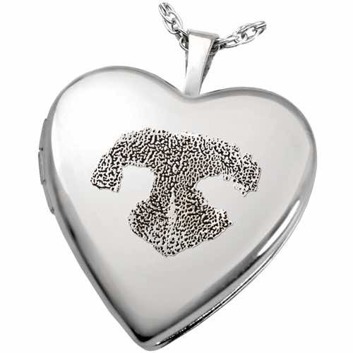 Heart Double-Photo Locket Pendant, with actual nose print, Sterling Silver