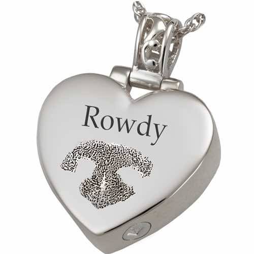 Heart Filigree Bail Actual Noseprint Cremation Pendant Jewelry in Sterling Silver