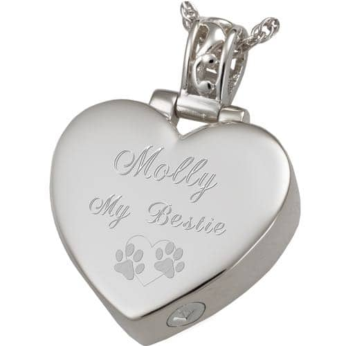 Heart Filigree Bail Actual Noseprint Cremation Pendant Jewelry in Sterling Silver, engraved
