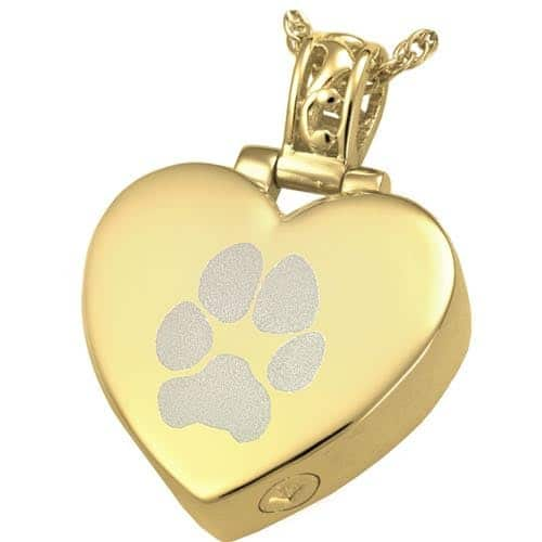 Heart Filigree Bail Actual Pawprint Cremation Pendant Jewelry in Gold Plating over Sterling Silver