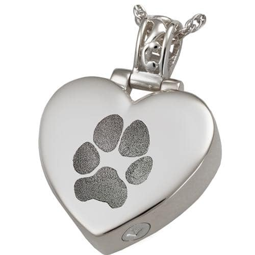 Heart Filigree Bail Actual Pawprint Cremation Pendant Jewelry in Sterling Silver