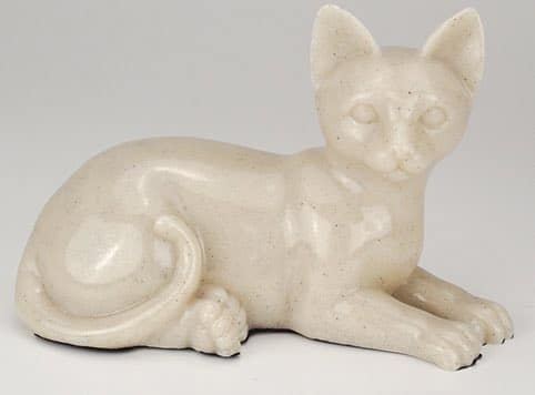 Stone and Resin Porcelain-style Cat Cremation Urn, laying