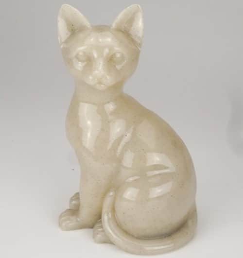 Stone and Resin Porcelain-style Cat Cremation Urn, sitting
