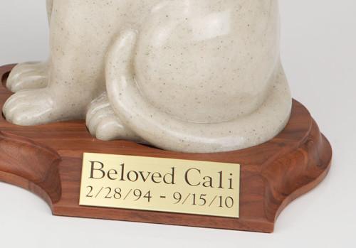 Stone and Resin Porcelain-style Cat Cremation Urn with base, sitting
