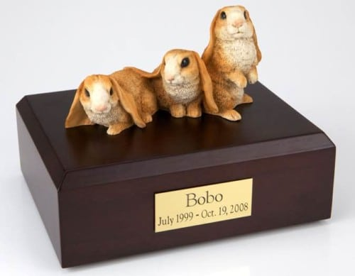 Three brown & white rabbit cremation figurine urn for pet's ashes
