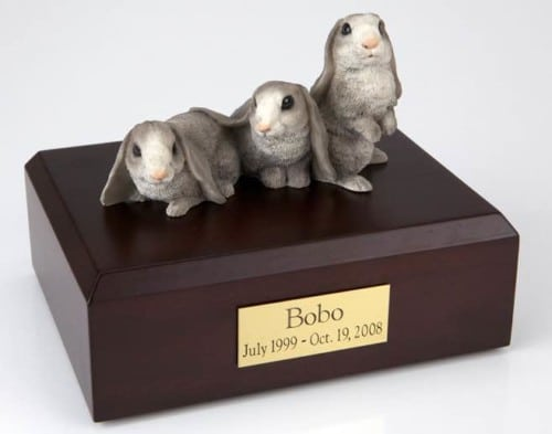 Three gray & white rabbit cremation figurine urn for pet's ashes
