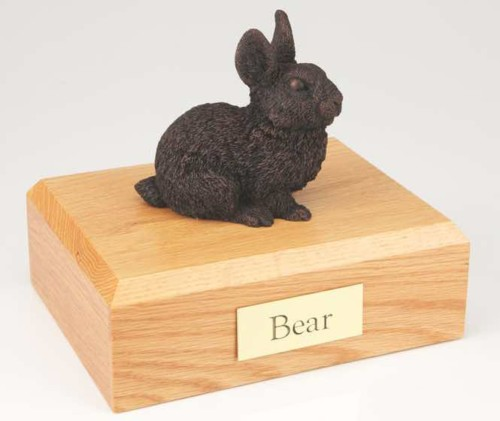 Bronze look rabbit cremation figurine urn for pet's ashes