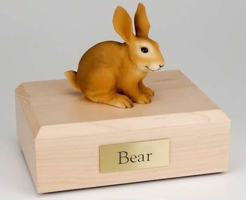 Brown rabbit cremation figurine urn for pet's ashes