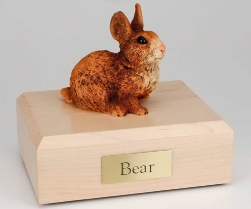Brown & White rabbit cremation figurine urn for pet's ashes