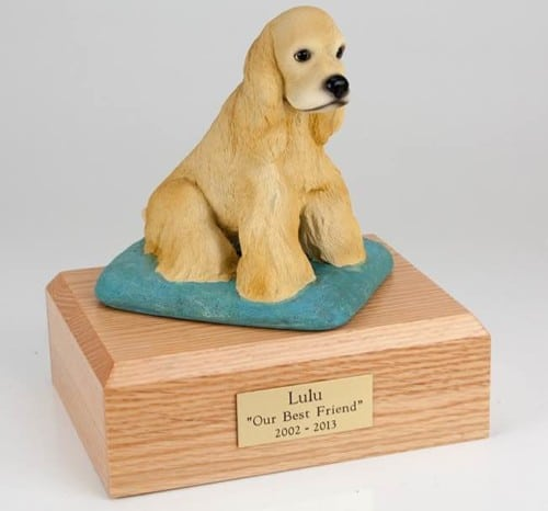 Blond (yellow) Cocker Spaniel figurine cremation urn w/wood box