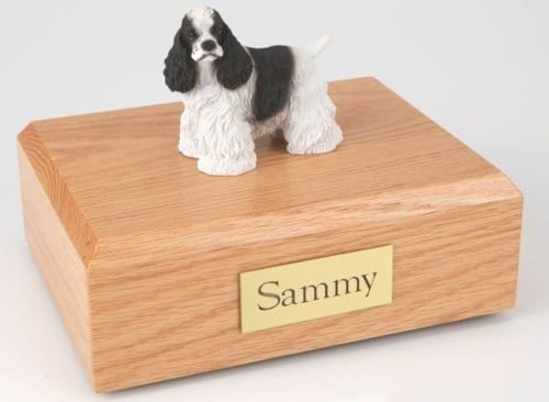 Black & White Cocker Spaniel figurine cremation urn w/wood box