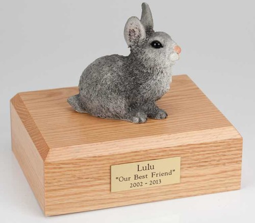Gray rabbit cremation figurine urn for pet's ashes