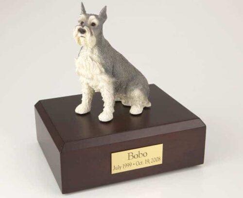 Gray Schnauzer Cremation Figurine Urn