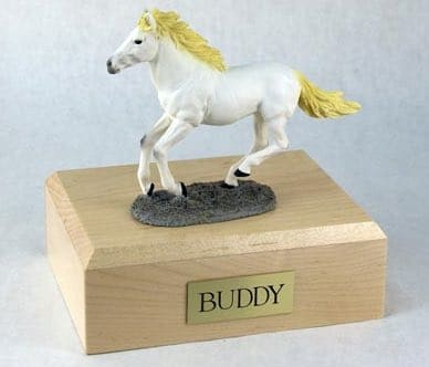 White running horse cremation urn