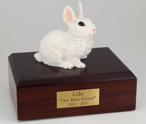 White rabbit cremation figurine urn for pet's ashes