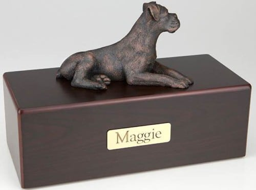 Boxer, Ears Down Cremation Figurine Urn
