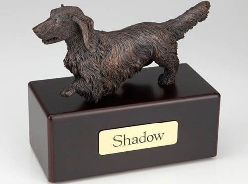 Long Haired Dachshund Cremation Figurine Urn
