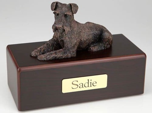 Schnauzer Ears Down Cremation Figurine Urn