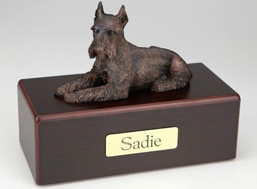 Schnauzer, Ears Up Cremation Figurine Urn