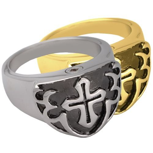 Mens black cross cremation ring jewelry