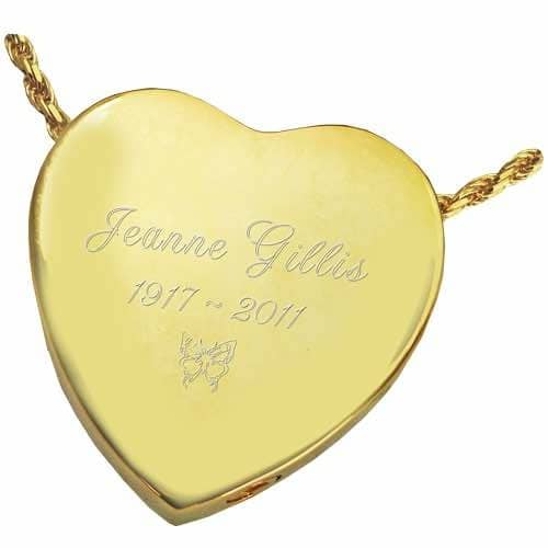 Peaceful Heart Cremation Pendant 3109 Sterling Silver and Gold, engraved