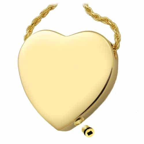 Access Plug for Ashes, Peaceful Heart Cremation Pendant 3109 Sterling Silver and Gold
