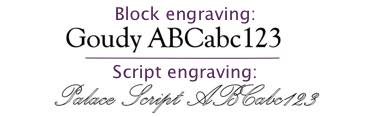 Engraving styles: block and script